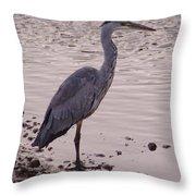 Heron And Grey Water Throw Pillow