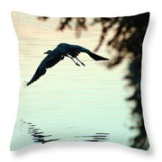 Heron At Dusk Throw Pillow