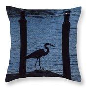 Heron At Dusk Throw Pillow