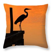 Heron At Sunset Throw Pillow