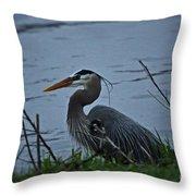 Heron At The Rock River Throw Pillow