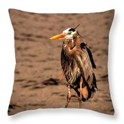Egret Bad Feather Day Throw Pillow