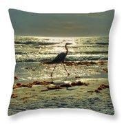 Heron Beachwalk Throw Pillow