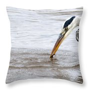 Heron Fishing Throw Pillow