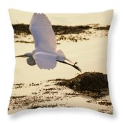 Heron Fly-by Throw Pillow