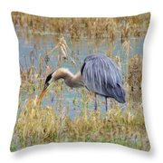 Heron Hunting In Shallows Throw Pillow