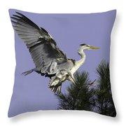 Heron In Fern Tree Throw Pillow