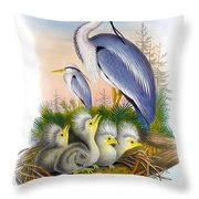 Heron Antique Bird Print Joseph Wolf The Birds Of Great Britain  Throw Pillow