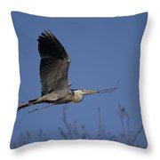 Heron Nest Building Throw Pillow