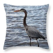 Heron On  Lake Guntersville Throw Pillow