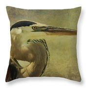Heron On Texture Throw Pillow