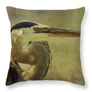 Heron On Texture Throw Pillow
