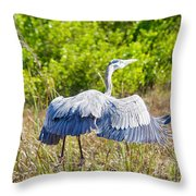 Heron On The Rise Throw Pillow