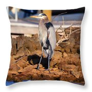 Heron On The Rocks Throw Pillow