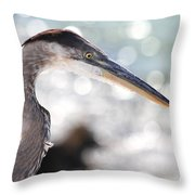 Heron Searching Throw Pillow