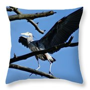 Heron Spreads Wings Throw Pillow