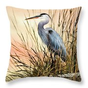 Heron Sunset Throw Pillow by James Williamson