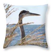 Heron Through The Grass Throw Pillow