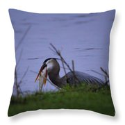 Heron Trying To Get His Fish Throw Pillow