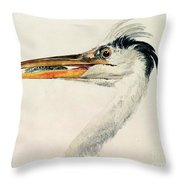 Heron With A Fish Throw Pillow