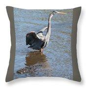 Heron With Gator Throw Pillow