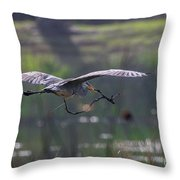 Heron With Nesting Material Throw Pillow