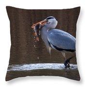 Heron With Perch Throw Pillow