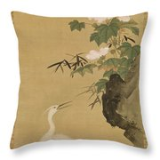 Herons And Cotton Roses Throw Pillow