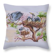 Herons At Nests Throw Pillow