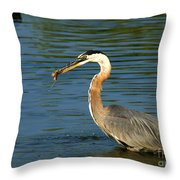 Herons Catch Throw Pillow