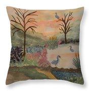 Heron's Hangout At Sunrise Throw Pillow