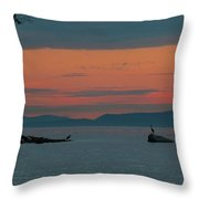 Herons In The Distant At Semiahmoo Bay At Dusk Throw Pillow