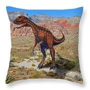 Herrarsaurus In Desert Throw Pillow