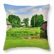 Herr's Grist Mill And Covered Bridge Throw Pillow