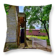 Herr's Mill And Covered Bridge 2 Throw Pillow