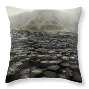 Hexagon Stones And A Mountain In The Morning Fog Throw Pillow