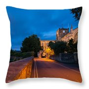 Hexham Abbey At Night Throw Pillow