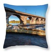 Hexham Bridge And Fish Pass Throw Pillow