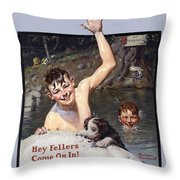 Hey Fellers Come On In Throw Pillow
