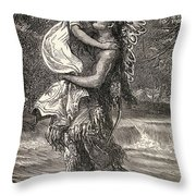 Hiawatha And Minnehaha Throw Pillow by Unknown
