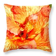 Hibiscus And Bees Throw Pillow