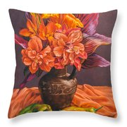 Hibiscus And Cannas In Balinese Jug Throw Pillow
