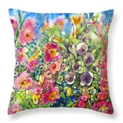 Hibiscus And Friends Throw Pillow