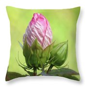 Hibiscus Bud Beauty Throw Pillow
