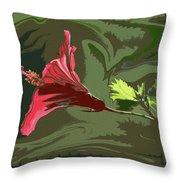 Hibiscus Dark And Light Photopainting 1 Throw Pillow