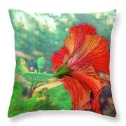 Hibiscus Flame Throw Pillow