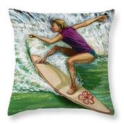 Hibiscus Girl Throw Pillow
