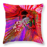 Hibiscus Macro Abstract Throw Pillow