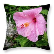 Hibiscus On A Rainy Day Throw Pillow