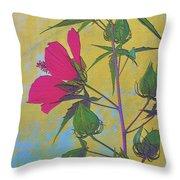 Hibiscus On Brick Throw Pillow